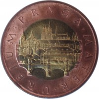 reverse of 50 Korun (1993 - 2017) coin with KM# 1 from Czech Republic. Inscription: URBIUM · PRAGA · MATER