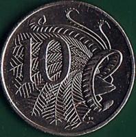 reverse of 10 Cents - Elizabeth II - 6th Portrait (2019 - 2020) coin from Australia. Inscription: 10 SD