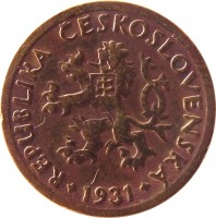 obverse of 10 Haléřů (1922 - 1938) coin with KM# 3 from Czechoslovakia. Inscription: REPUBLIKA ČESKOSLOVENSKÁ 1927