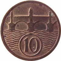 reverse of 10 Haléřů (1922 - 1938) coin with KM# 3 from Czechoslovakia. Inscription: 10