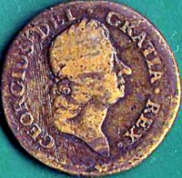 obverse of 1/2 Penny - George I (1722) coin with KM# 2 from United States.