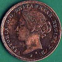 obverse of 1/48 Shilling - Victoria (1877) coin with KM# 6 from Jersey. Inscription: VICTORIA D . G. BRITANNIAR . REGINA F . D