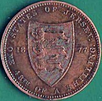 reverse of 1/48 Shilling - Victoria (1877) coin with KM# 6 from Jersey. Inscription: 1877 STATES OF JERSEY ONE 48TH OF A SHILLING