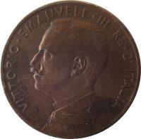 obverse of 5 Centesimi - Vittorio Emanuele III (1908 - 1918) coin with KM# 42 from Italy. Inscription: VITTORIO · EMANUELE · III · RE · D'ITALIA