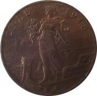 reverse of 5 Centesimi - Vittorio Emanuele III (1908 - 1918) coin with KM# 42 from Italy. Inscription: CENT. 5 1913 R P.CANONICA M. L.GIORGI I.