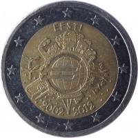 obverse of 2 Euro - 10 Years of Euro Cash (2012) coin with KM# 70 from Estonia. Inscription: EESTI A.H. € 2002 2012