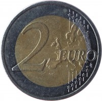 reverse of 2 Euro - 10 Years of Euro Cash (2012) coin with KM# 70 from Estonia. Inscription: 2 EURO LL