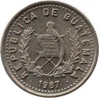 obverse of 5 Centavos - Non magnetic (1977 - 2010) coin with KM# 276 from Guatemala. Inscription: REPUBLICA DE GUATEMALA · 2000 · LIBERTAD 15 DE SEPTIEMBRE DE 1821