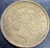 obverse of 2 Dollars - Elizabeth II - Mule - obverse is a British 2 Pence coin. (2002) coin from New Zealand. Inscription: ELIZABETH · II · D · G REG · F · D · 2002 IRB