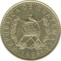 obverse of 1 Quetzal (1999 - 2012) coin with KM# 284 from Guatemala. Inscription: REPUBLICA DE GUATEMALA 2001 LIBERTAD 15 DE SETIEMBRE DE 1821