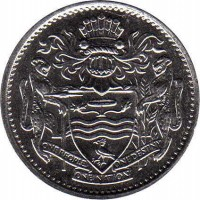 obverse of 25 Cents (1967 - 1992) coin with KM# 34 from Guyana. Inscription: ONE PEOPLE ONE NATION ONE DESTINY