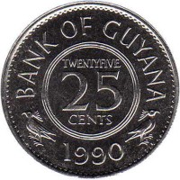 reverse of 25 Cents (1967 - 1992) coin with KM# 34 from Guyana. Inscription: BANK OF GUYANA TWENTYFIVE 25 CENTS 1989