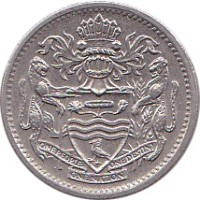 obverse of 10 Cents (1967 - 1992) coin with KM# 33 from Guyana. Inscription: ONE PEOPLE ONE NATION ONE DESTINY