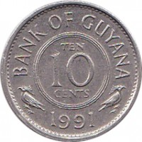 reverse of 10 Cents (1967 - 1992) coin with KM# 33 from Guyana. Inscription: BANK OF GUYANA TEN 10 CENTS 1991