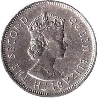 obverse of 1 Dollar - Elizabeth II - 1'st Portrait (1960 - 1970) coin with KM# 31 from Hong Kong. Inscription: QUEEN ELIZABETH THE SECOND