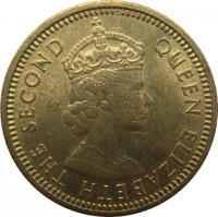 obverse of 5 Cents - Elizabeth II - 1'st Portrait (1958 - 1980) coin with KM# 29 from Hong Kong. Inscription: QUEEN ELIZABETH THE SECOND