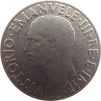 obverse of 1 Lira - Vittorio Emanuele III - Non magnetic (1939 - 1940) coin with KM# 77a from Italy. Inscription: VITTORIO.EMANUELE.III.RE.E.IMP. G.ROMAGNOLI