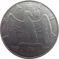 reverse of 1 Lira - Vittorio Emanuele III - Non magnetic (1939 - 1940) coin with KM# 77a from Italy. Inscription: ITALIA 1940 XVIII R L. 1