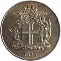 obverse of 1 Króna (1957 - 1975) coin with KM# 12a from Iceland. Inscription: 1974
