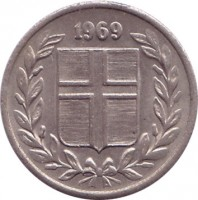 obverse of 10 Aurar (1946 - 1969) coin with KM# 10 from Iceland. Inscription: 1969