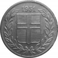 obverse of 25 Aurar (1946 - 1967) coin with KM# 11 from Iceland. Inscription: 1963