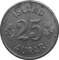 reverse of 25 Aurar (1946 - 1967) coin with KM# 11 from Iceland. Inscription: ÍSLAND 25 AURAR