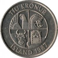 obverse of 10 Krónur (1984 - 1994) coin with KM# 29 from Iceland. Inscription: TÍU KRÓNUR ÍSLAND 1987
