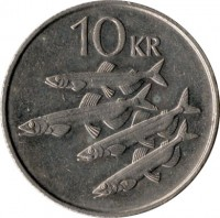 reverse of 10 Krónur (1984 - 1994) coin with KM# 29 from Iceland. Inscription: 10 KR