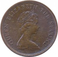 obverse of 1 New Penny - Elizabeth II - 2'nd Portrait (1971 - 1980) coin with KM# 30 from Jersey. Inscription: QUEEN ELIZABETH THE SECOND