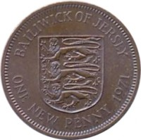 reverse of 1 New Penny - Elizabeth II - 2'nd Portrait (1971 - 1980) coin with KM# 30 from Jersey. Inscription: BAILIWICK OF JERSEY ONE NEW PENNY 1971