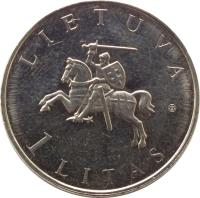 obverse of 1 Litas - Vilnius – European Capital of Culture 2009 (2009) coin with KM# 162 from Lithuania. Inscription: LIETUVA 1 LITAS
