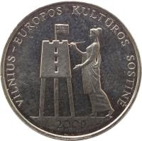 reverse of 1 Litas - Vilnius – European Capital of Culture 2009 (2009) coin with KM# 162 from Lithuania. Inscription: VILNIUS - EUROPOS KULTUROS SOSTINĖ 2009