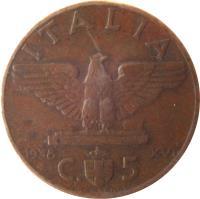 reverse of 5 Centesimi - Vittorio Emanuele III (1936 - 1939) coin with KM# 73 from Italy. Inscription: ITALIA 1936 R XIV C. 5 G. ROMAGNOLI