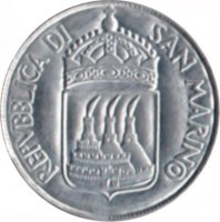 obverse of 1 Lira (1973) coin with KM# 22 from San Marino. Inscription: REPVBBLICA DI SAN MARINO