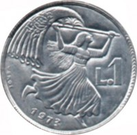 reverse of 1 Lira (1973) coin with KM# 22 from San Marino. Inscription: L.1 1973