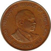 obverse of 10 Cents (1978 - 1991) coin with KM# 18 from Kenya. Inscription: PRESIDENT OF REPUBLIC OF KENYA DANIEL TOROITICH ARAP MOI