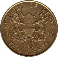 reverse of 10 Cents (1978 - 1991) coin with KM# 18 from Kenya. Inscription: REPUBLIC OF KENYA 19 90 10 TEN CENTS