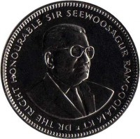 obverse of 1/2 Rupee (1987 - 2013) coin with KM# 54 from Mauritius. Inscription: DR THE RIGHT HONOURABLE SIR SEEWOOSAGUR RAMGOOLAM KT