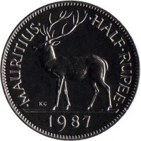 reverse of 1/2 Rupee (1987 - 2013) coin with KM# 54 from Mauritius. Inscription: · MAURITIUS · · HALF · RUPEE · 2003 KG