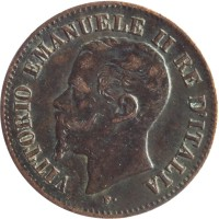 obverse of 2 Centesimi - Vittorio Emanuele II (1861 - 1867) coin with KM# 2 from Italy. Inscription: VITTORIO EMANUELE II RE D'ITALIA F.