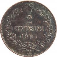 reverse of 2 Centesimi - Vittorio Emanuele II (1861 - 1867) coin with KM# 2 from Italy. Inscription: 2 CENTESIMI 1867 M