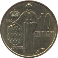reverse of 10 Centimes - Rainier III (1962 - 1995) coin with KM# 142 from Monaco. Inscription: DEO 10 CENTIMES JUVANTE