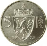 reverse of 5 Kroner - Olav V (1963 - 1973) coin with KM# 412 from Norway. Inscription: 5 KR 19 72