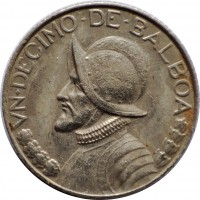 reverse of 1/10 Balboa (1996 - 2008) coin with KM# 127 from Panama. Inscription: VN · DECIMO · DE · BALBOA