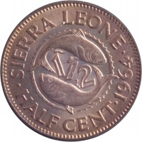 reverse of 1/2 Cent (1964) coin with KM# 16 from Sierra Leone. Inscription: SIERRA LEONE · HALF CENT · 1964 ·