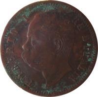 obverse of 2 Centesimi - Umberto I (1895 - 1900) coin with KM# 30 from Italy. Inscription: UMBERTO I RE D'ITALIA S ·