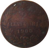reverse of 2 Centesimi - Umberto I (1895 - 1900) coin with KM# 30 from Italy. Inscription: 2 CENTESIMI 1898 R
