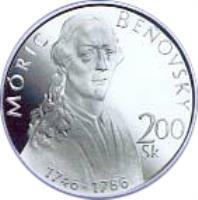 reverse of 200 Korún - Móric Beňovský (1996) coin with KM# 34 from Slovakia. Inscription: MÓRIC BEŇOVSKÝ 200 Sk 1746 - 1786