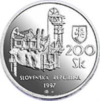 obverse of 200 Korún - Banská Štiavnica (1997) coin with KM# 38 from Slovakia. Inscription: 200 Sk SLOVENSKÁ REPUBLIKA 1997