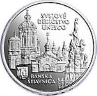 reverse of 200 Korún - Banská Štiavnica (1997) coin with KM# 38 from Slovakia. Inscription: SVETOVÉ DEDIČSTVO UNESCO BANSKÁ ŠTIAVNICA